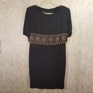 Carole Little   Black Evening Dress w/Gold Accents